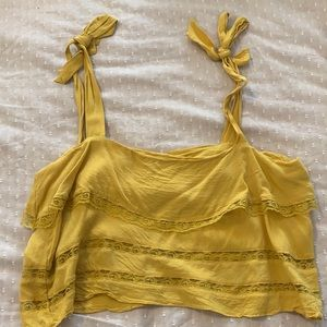 Re:named yellow tiered lace top with tie sleeves